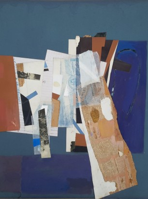 REID NORMAN COLLAGE WC AN ABSTRACT TITLE BENS CHOICE 19.8 x 25.5 INCHES EXH RA 1980 01A